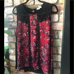 Sleeveless blouse with fun lace detail
